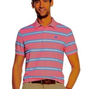 IZOD MENS Pink Stripe Golf Polo Shirt NWOT